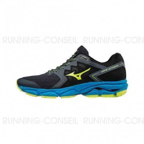 MIZUNO WAVE ULTIMA 10 Homme Ombre Blue/Safety Yellow/Diva Blue | Collection Automne Hiver 2018
