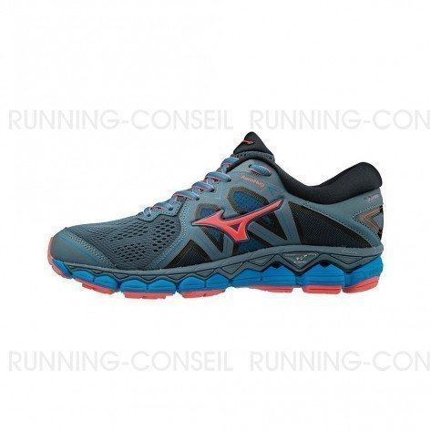 MIZUNO WAVE SKY 2 Femme Blue Mirage/Fiery Coral/Diva Blue | Collection Automne Hiver 2018