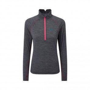 RONHILL Tee-shirt 1/2 Zip Infinity Merino Femme | Grey marl Hot pink