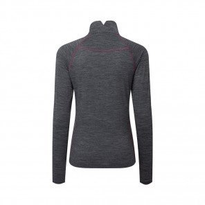 RONHILL Tee-shirt 1/2 Zip Infinity Merino Femme   Grey marl Hot pink