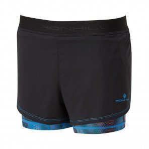 RONHILL SHORT TWIN MOMENTUM Femme | BLACK/SKY BLUE